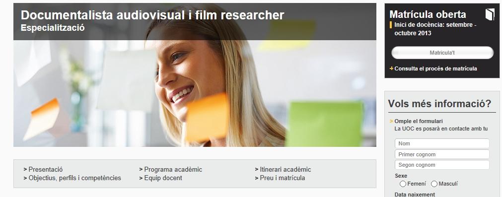 postgrau documentalista audiovisual